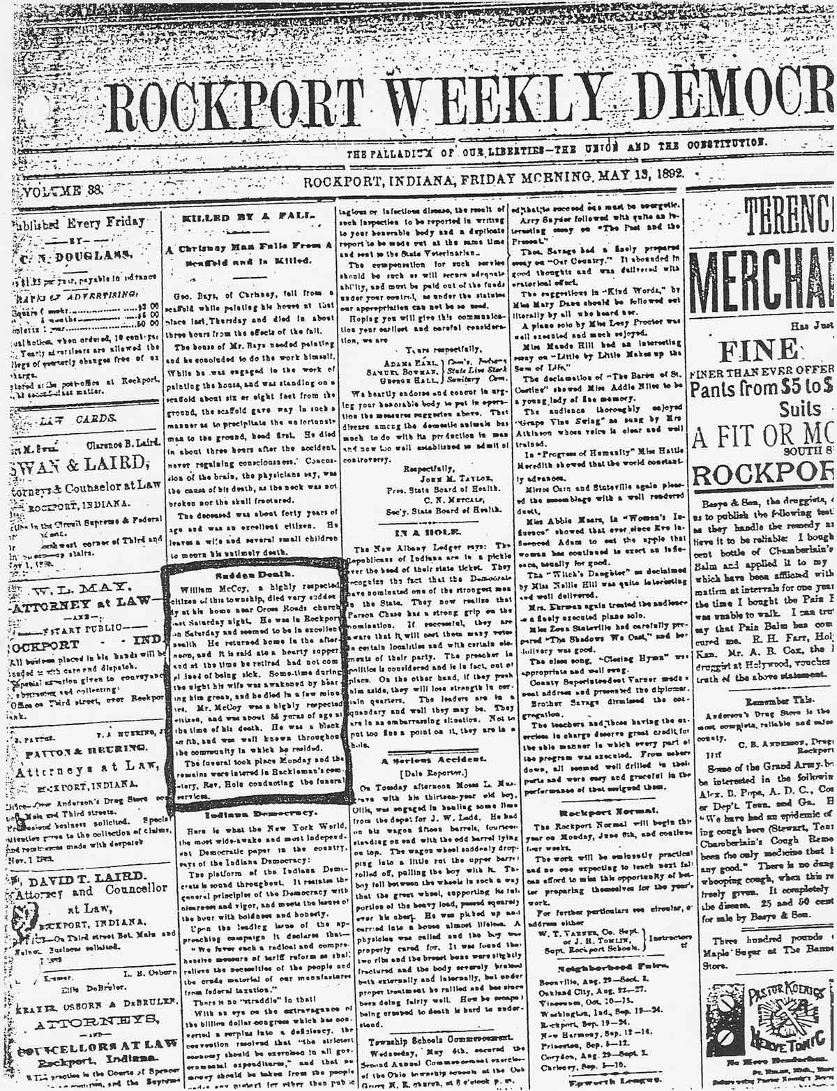 Indiana spencer county rockport - Mccoy William Death Rockport Newspaper With An Article Of His Sudden Death